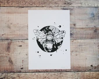 Bumble Bee A4 Print - Black & White - Screen Print - Illustration - Wall Art - Decorative Print