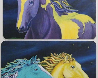 Purple Paint Horse Art Magnets