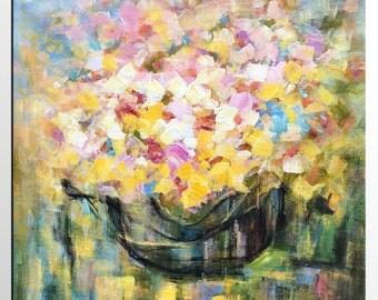 Abstract Art Painting, Canvas Art, Original Painting, Flower Oil Painting, Canvas Painting, Floral Painting, Abstract Wall Art, Still Life