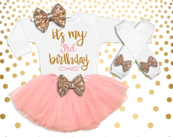 3rd Birthday Outfit Girl Pink and Gold 3rd Birthday Tutu Set Birthday Girl Outfit 3rd Birthday Outfit Birthday Tutu Set