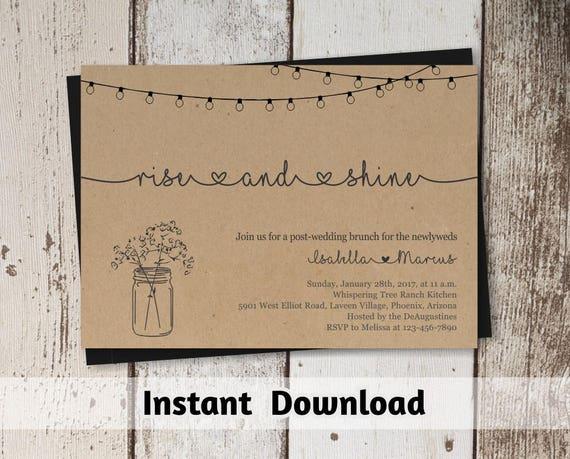 Post Wedding Brunch Invitation Wording: Post Wedding Brunch Invitation Printable Template Rustic