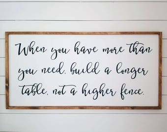 """24x48"""" When you have more than you need build a longer table sign,Farmhouse Decor,Rustic Sign,Wall Decor,Dining Room Sign,Modern Farmhouse"""