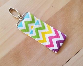 Multi color chevron chapstick holder keychain