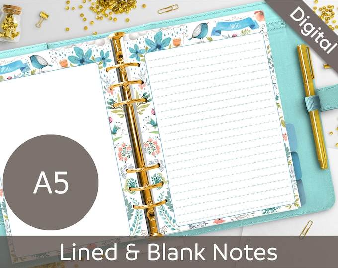 A5 Notes Printable, Filofax A5 printable refills, Lined & Blank Notes, Memo, Arinne Blue Bird DIY Planner PDF Instant Download