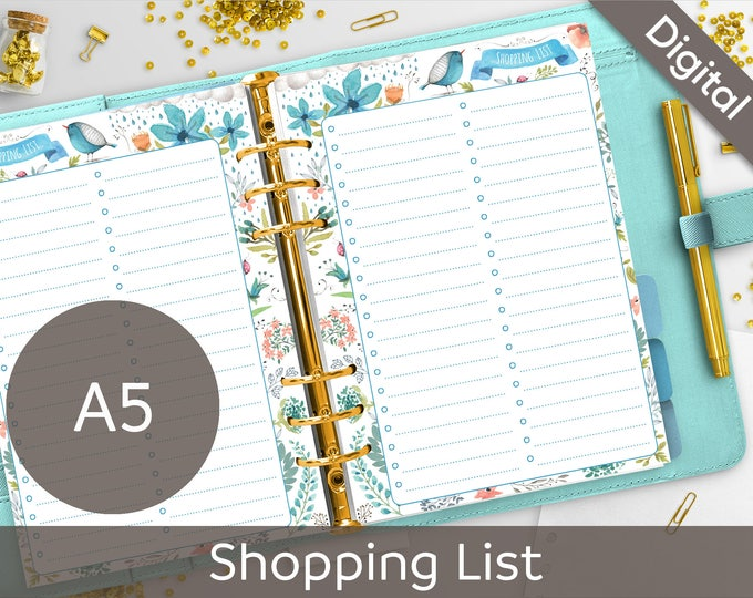 A5 Shopping List Printable, Filofax A5 printable refills, Grocery Shopping printable, Arinne Blue Bird DIY Planner PDF Instant Download