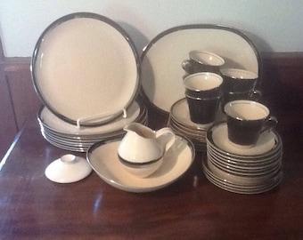 Vintage, 1990's, Royal Prestige, Nocturne, 4401, Dinner Ware Set, 39 pieces, white, black and silver