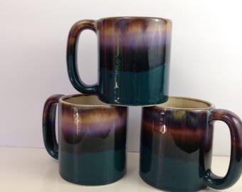 Southwest Pottery Oversize Mugs Set of 3 Signed  Padilla Turquoise Lavender Ombre