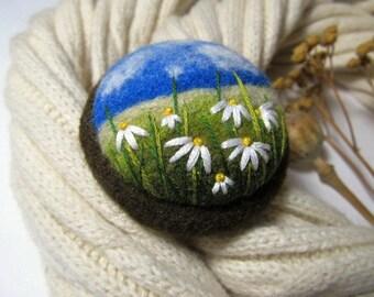 Women jewellery Embroidery yellow flower needle felted brooch Felt brooch pin for scarf Sunflower jewelry gift ideas  Felt dress brooch