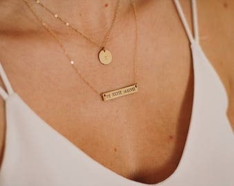 Custom Roman Numeral Date, Gold Filled, Bar Necklace