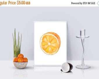 SALE Digital Wall Prints, Orange Watercolor, Instant Download Art, Watercolor Print, Fruit Print, Orange Painting,Kitchen Print,Yellow and O