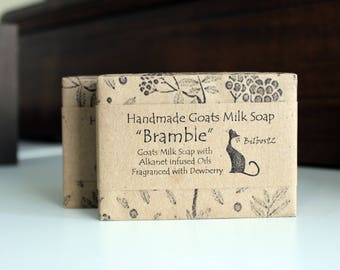"Goats Milk Soap - ""Bramble"" with Alkanet Infused Olive Oil, fragranced with ""Dewberry"""