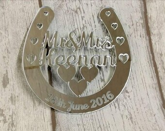 Personalised Wedding horseshoe, lucky horseshoe, wedding sign, horseshoe gift, lucky bride keepsake, wedding keepsake, wedding plaque