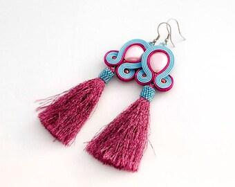 Pink blue statement soutache earrings. Long dangle pearl earrings, pink tassel earrings, elegant everyday earrings