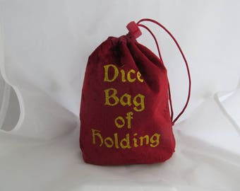 Dice Bag Pouch Velvet Dungeons and Dragons D&D RPG Role Playing Die Maroon Dice Bag of Holding Reversible Lined