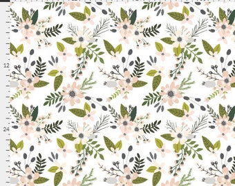 Sprigs and Blooms Curtains / Floral Curtains / Spoonflower / Nursery Curtains / Girls Room Curtains / Designer / Blush and Charcoal