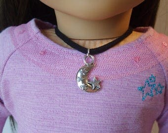 Silver Crescent Moon and Stars Necklace for American Girl Doll Luciana Vega GOTY 2018 and other 18 inch dolls