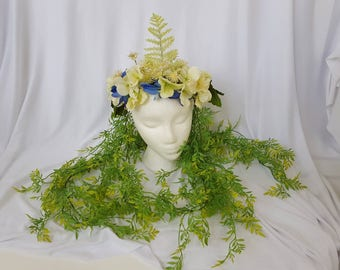 Forest Nymph Headpiece Hanging Flower Crown Floral Fairy Headdress - SALE!