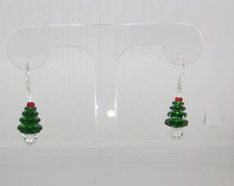 Swarovski Crystal Christmas Tree Earrings Sterling Silver