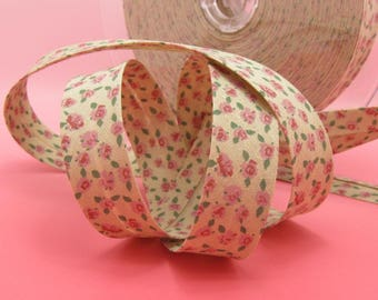 Liberty fabric pink linen flowers 20mm