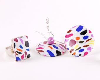 "Large earrings mottled - ""Flying saucer"" collection and ring set"