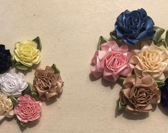 craft supplies, ribbon roses, soft flowers, wedding decor, decorations, embellishment