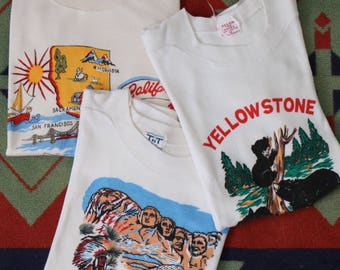 Set of 3 Cute Vintage 1960s 60s tourist California Yellow Stone Mount Rushmore t shirt