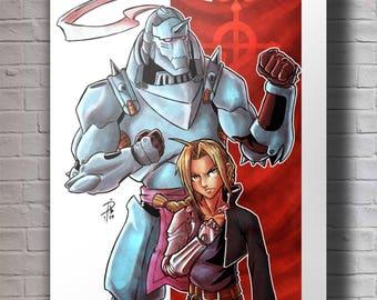 Fullmetal Alchemist - Ed & Al A4 Original Art Print