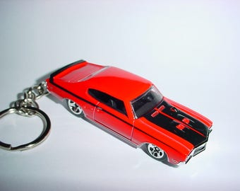 3D 1970 Buick GSX custom keychain by Brian Thornton keyring key chain finished in Red/Black racing trim diecast metal body 70