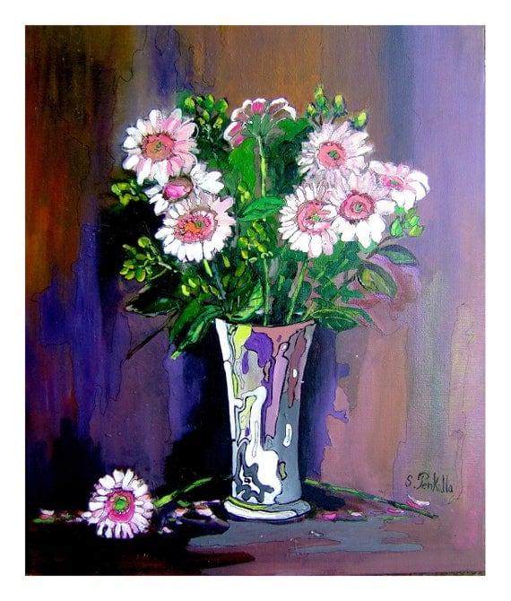 Préférence tableau peinture moderne contemporain d'un bouquet de IE72