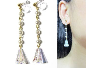 AB Swarovski Crystal Clip-on Earrings |28E| White Pearl Clip On Earring Clear Rhinestone Clip Earrings Dangle Clip-ons Gold Clip Earrings