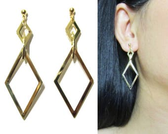 Shiny Gold Dangle Clip On Earrings |28V| Geometric Clip-ons Lozenge Shape Long Clip On Earrings Non Pierced Stylish Modern Clip Earrings