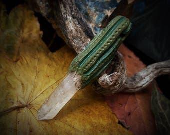 Crystal Cactus Pendant /Crystal Pendant/Crystal Jewelry/Handmade/Unique/Pagan/Heathen/Amulet