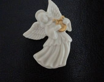 Lenox Angel Brooch, Lenox White Porcelain Angel Brooch