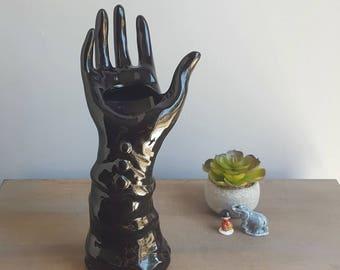 Vintage ceramic hand vase, 1960s, Glossy black glaze, Mid Century Hand ring holder, gloved hand figurine, black porcelain hand statue,