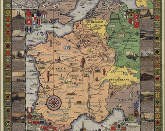 Poster, Many Sizes Available; Wwi Map American Expeditionary Force France 1932