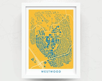 WESTWOOD Map Print - Home Decor - Office Decor - Dorm Decor - Westwood Artwork - Poster - Wall Art - UCLA Gift - Bruins Gift - Art