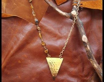 Tiger eye shield necklace