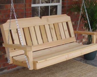 Brand New 6 Foot Cedar Wood Victorian Porch Swing with Hanging Chain - Free Shipping