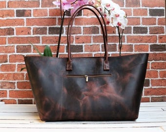 20%OFF,waxed Leather bag.Leather Tote.leather tote bag ,handmade leather bag ,tote bag ,large leather bag,brown leather bag