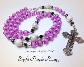 Bright Purple Rosary. Madonna and Child Medal. Purple Rosary. Baby Rosary. Child Rosary. Holy Rosary. Catholic Rosary. #R42