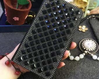 Luxury Bling New Flip Slot Cards Holder Lovely Black Gems Wallet Leather Crystals Rhinestones Diamonds Fashion Cover Case for Mobile Phones