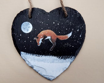 Leaping Fox - hand painted Slate Heart