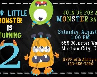 Monster themed birthday invitation