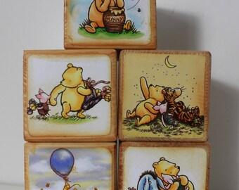 Winnie-the-Pooh Vintage Wood Blocks, Classic Pooh Personalized Custom Blocks,  Winnie-the-Pooh Quotes : Disney Pooh  Bear