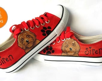 Goldendoodle Shoes, Sneakers, Hand Painted sneakers, dog shoes, Hand Painted, canvas shoes, trainers, hand painted shoes, low tops, dogs