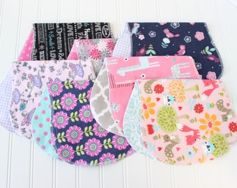 Baby Girl Burp Cloths - Set of 7 - Baby Shower Gift - Baby Gift - Woodland