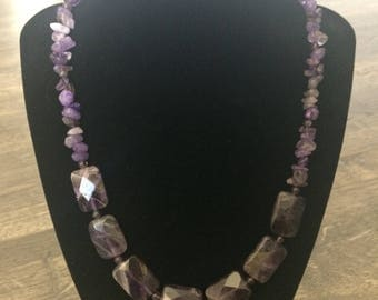 19 inch Amethyst Chip and Rectangle Necklace