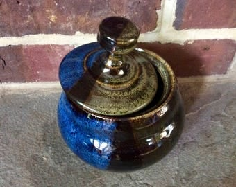 Handmade Ceramic Jar with Lid - Mossy Green and Brown and Midnight Blue