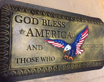 Concrete bench mold God Bless America with Arch Leg Molds Full 3 pc set.