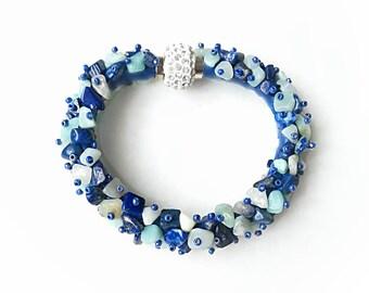 Blue gemstones bracelet lazuri amazonite blue lapis lazuri deep blue exclusive handmade high quality gift for her, gemstones bracelet gift